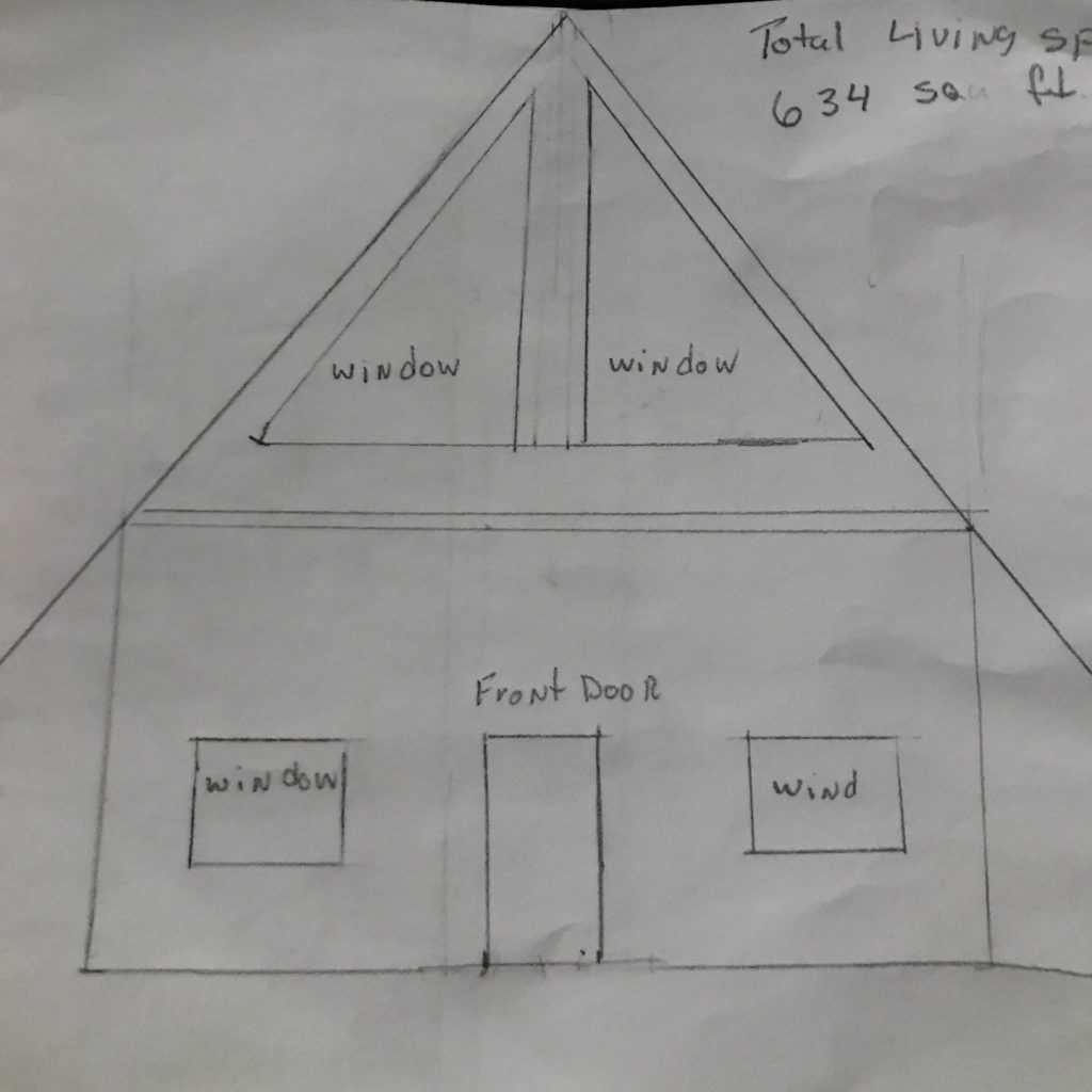 gable roof tiny house floor plan sketch