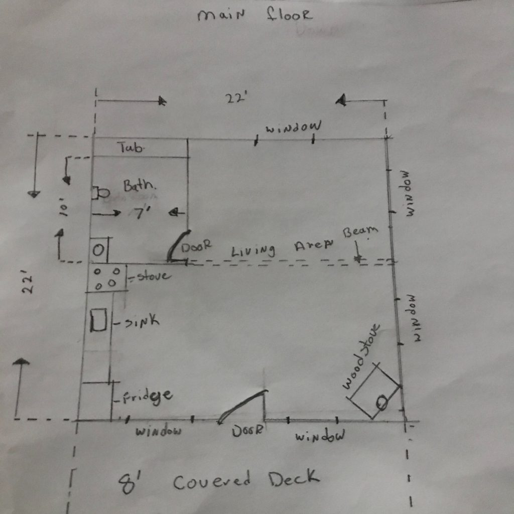 gable roof tiny house floor plan sketches